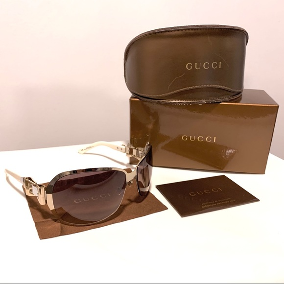 Gucci white and gold bow buckle sunglasses